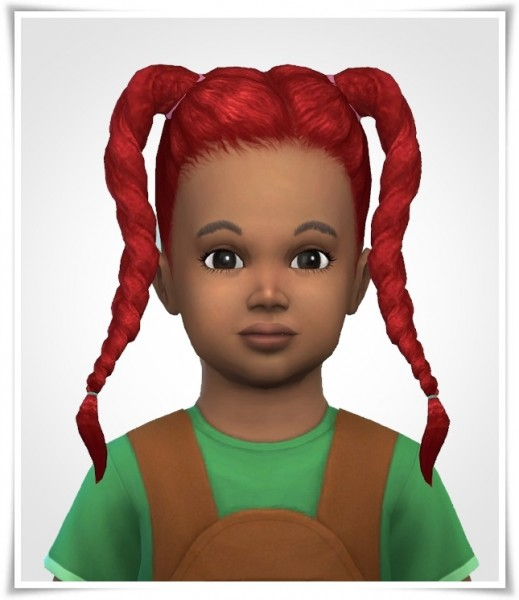 Birksches sims blog: Twist Braids Toddler version for Sims 4