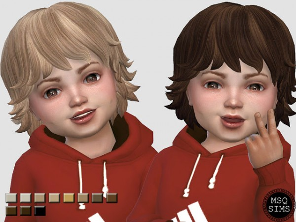 MSQ Sims: Toddler Med Wavy Hair Recolored for Sims 4