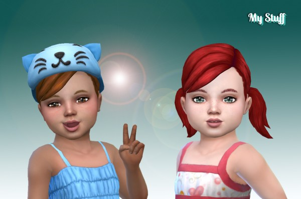 Mystufforigin: Pigtails Conversion for Toddlers for Sims 4