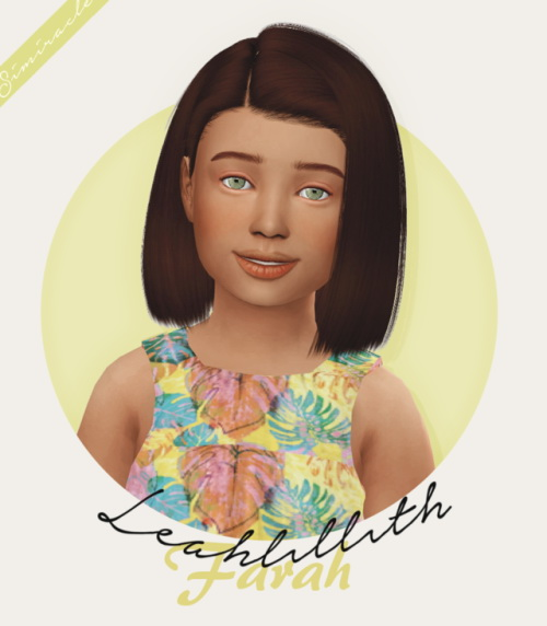 Simiracle: Leahlillith`s Farah hair retextured   kids version for Sims 4