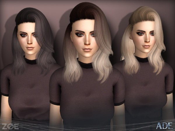 The Sims Resource: Zoe hair by Ade Darma for Sims 4