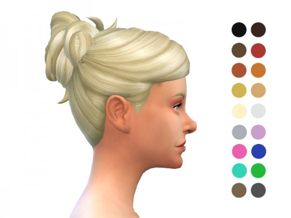 The Sims Resource: Messy Bun hair retextured by ladyfancyfeast for Sims 4