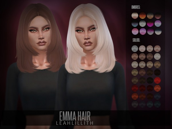 The Sims Resource: Emma Hair by Leah Lillith for Sims 4