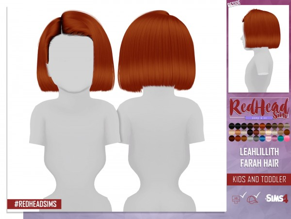 Coupure Electrique: Leahlillith`s Farah hair retextured   kids and toddlers versions for Sims 4