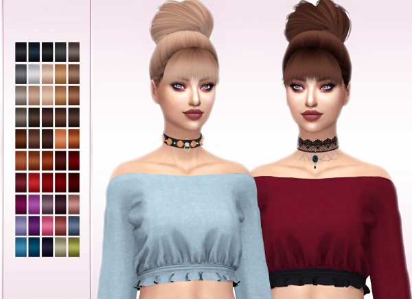 Frost Sims 4: SimplyMoonlix Charlotte hair retextured for Sims 4