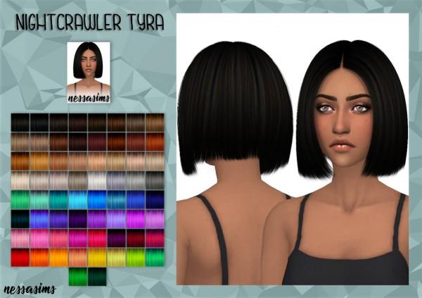 Nessa sims: Nightcrawler`s Tyra hair retextured for Sims 4