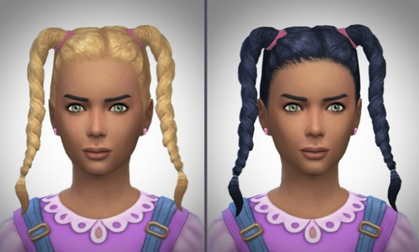 Birksches sims blog: Twisted Braids Girls for Sims 4