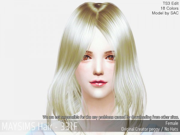 MAY Sims: MAY331F hair retextured for Sims 4