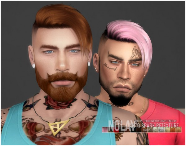 Mod The Sims: Anto`s Spark hair retextured by Nolay for Sims 4