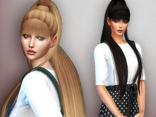 The Sims Resource: Dangerous woman hair retextured by Sharareh for Sims 4
