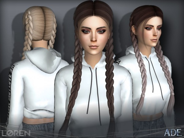 The Sims Resource: Loren hair by Ade Darma for Sims 4