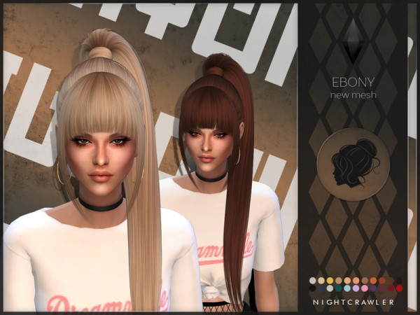 The Sims Resource: Ebony hair by Nightcrawler Sims for Sims 4