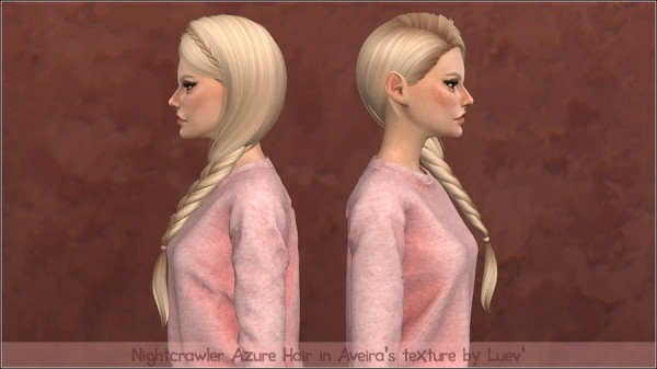 Mertiuza: Nightcrawler`s Azure Hair Retextured for Sims 4