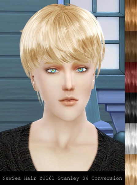 Twinklestar: NewSea`s YU161 Stanley hair retextured for Sims 4