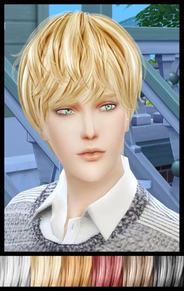 Twinklestar: NewSea`s YU101m hair retextured for Sims 4