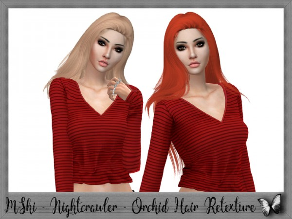 The Sims Resource: Nightcrawler`s Orchid Hair Retextured by mikerashi for Sims 4