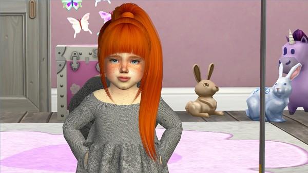 Coupure Electrique: Nightcrawler`s Ebony hair retextured   kids version for Sims 4