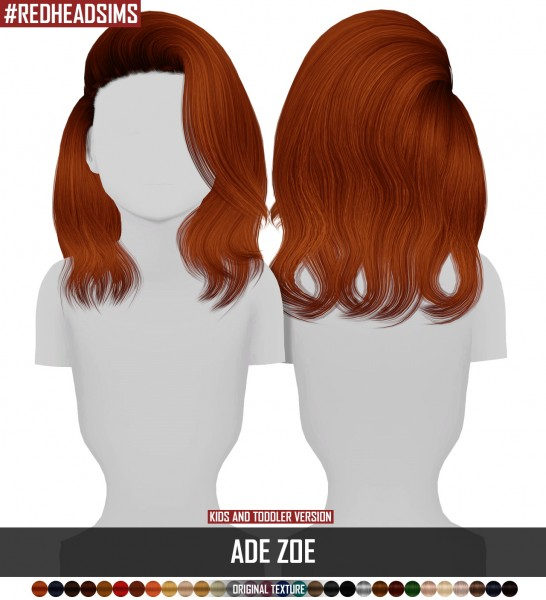 Coupure Electrique: AdeDrma`s Zoe hair retextured   Kids dn Toddlers version for Sims 4