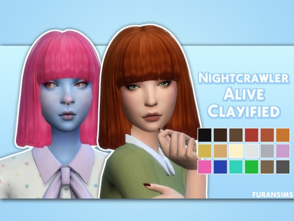 The Sims Resource: Nightcrawler`s Sims Alive hair clayified by furansims for Sims 4