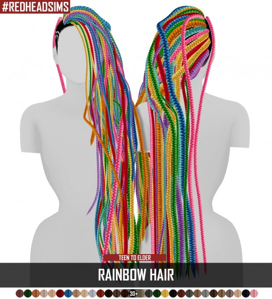Coupure Electrique: Rainbow hair dread versoin for Sims 4