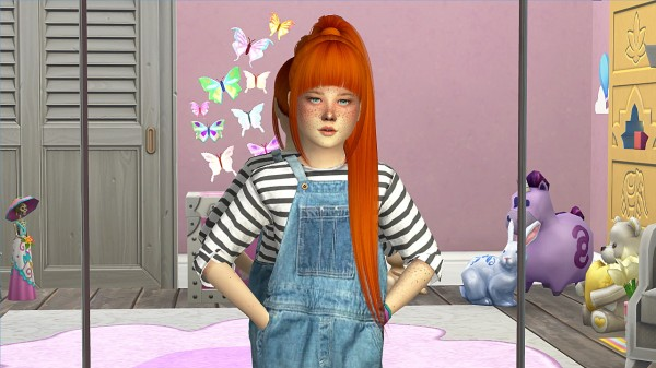 Coupure Electrique: Nightcrawler`s Ebony hair retextured   kids version for Sims 4