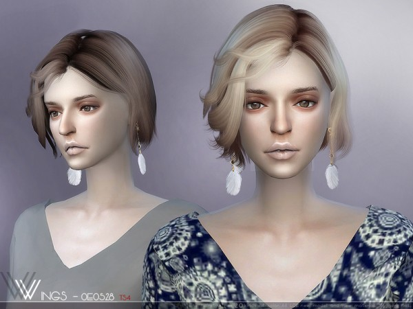 The Sims Resource: WINGS OE0528 hair for Sims 4