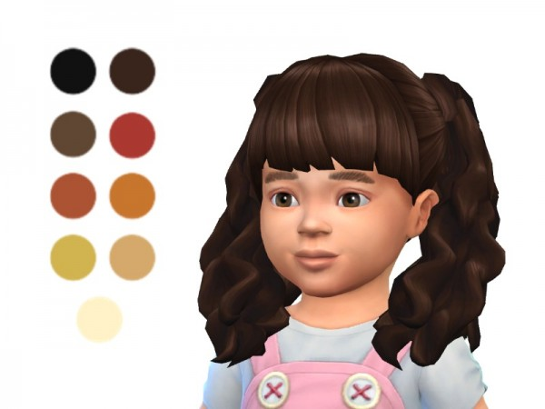 The Sims Resource: Toddler Long Curly Pigtails hair retextured for Sims 4