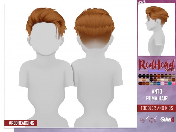 Coupure Electrique: Anto`s Puma hair retextured kids and toddlers version for Sims 4