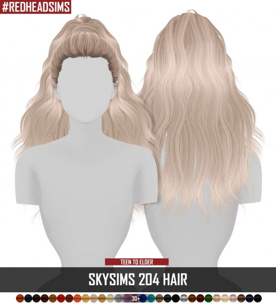 Coupure Electrique: Skysims 204 hair retextured for Sims 4