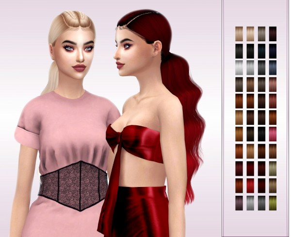 Frost Sims 4: LeahLillith`s Nakia hair retextured for Sims 4