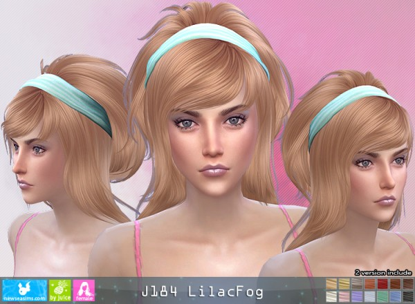 NewSea: J184 Lilac Fog hair for Sims 4