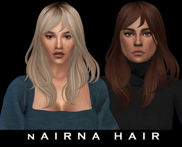 Leo 4 Sims: Nairna hair recolored for Sims 4