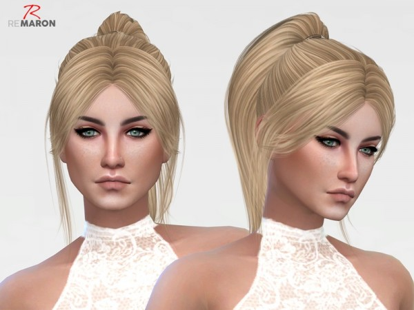 The Sims Resource: Barbiedoll Hair 001 Retextured by remaron for Sims 4