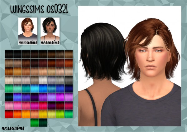 Nessa sims: Wingssims os0321 hair retextured for Sims 4