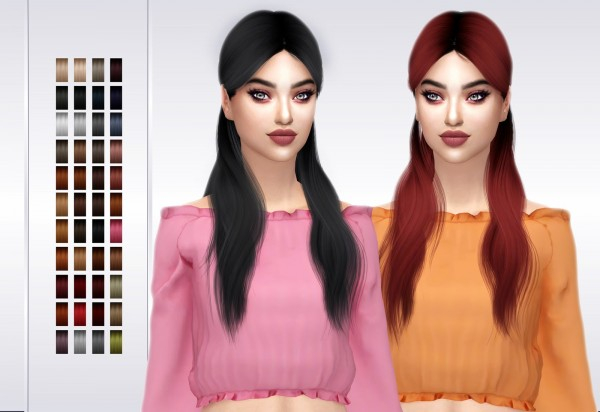 Frost Sims 4: Wingssims OE0423 hair retextured for Sims 4