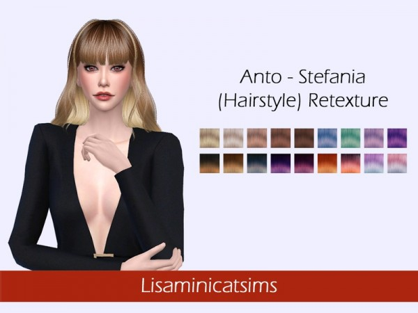The Sims Resource: Anto`s Stefania hair retextured by Lisaminicatsims for Sims 4