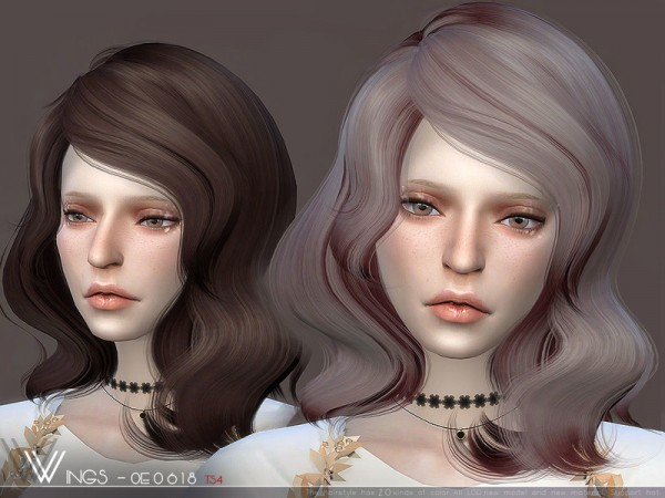 The Sims Resource: WINGS OE0618 hair for Sims 4