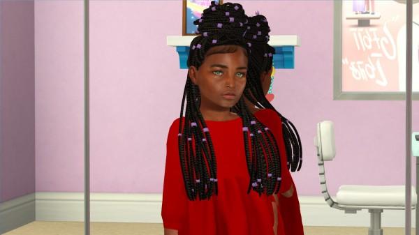 Coupure Electrique: Izza hair retextured  kids version for Sims 4