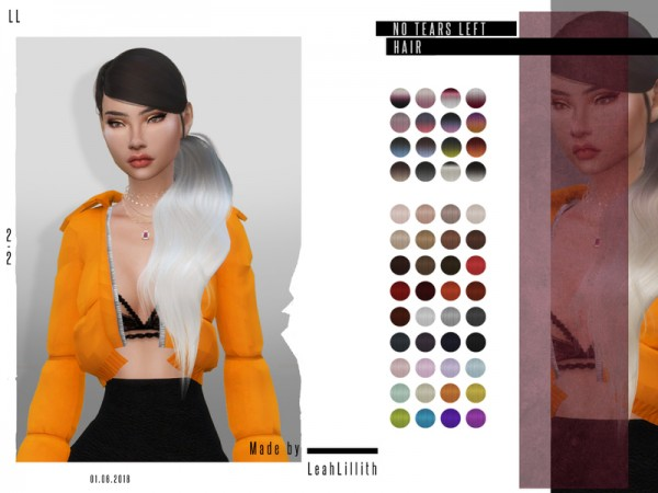 The Sims Resource: No Tears Left Hair by Leah Lillith for Sims 4