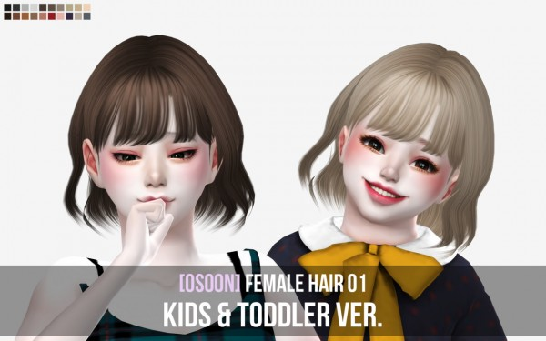 Osoon: Female Hair 01 Kids and Toddlers for Sims 4