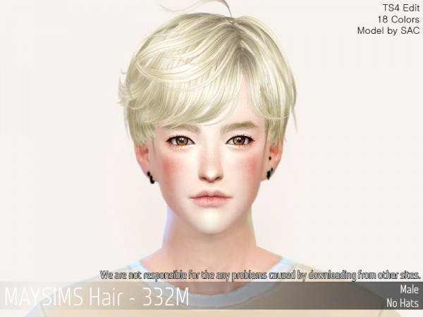 MAY Sims: MAY332M hair retextured for Sims 4