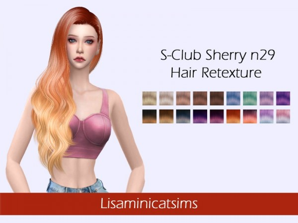 The Sims Resource: SClub`s Sherry Hair Retextured by Lisaminicatsims for Sims 4