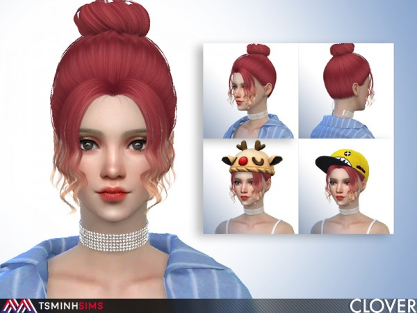 The Sims Resource: Clover Hair 63 by TsminhSims for Sims 4