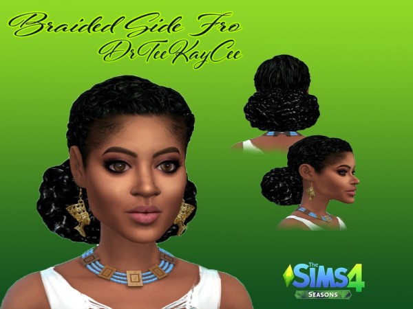 The Sims Resource: Braided Side Fro hair recolored by drteekaycee for Sims 4
