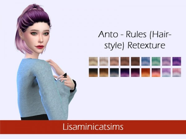 The Sims Resource: Anto`s Rules hair retextured by Lisaminicatsims for Sims 4