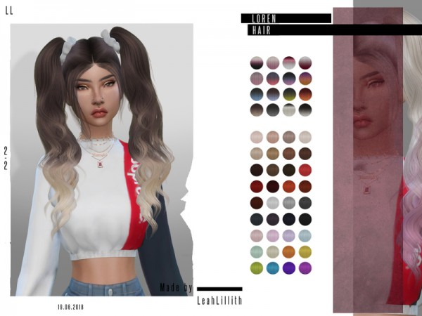 The Sims Resource: Loren Hair by LeahLillith for Sims 4