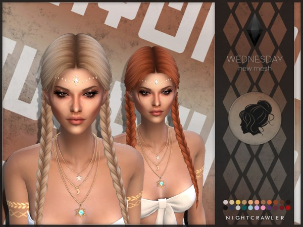 The Sims Resource: Wednesday hair by Nightcrawler  for Sims 4