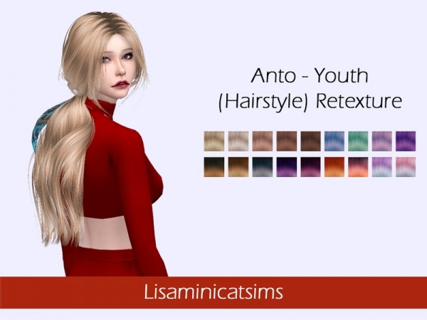The Sims Resource: Anto`s Youth hair retextured by Lisaminicatsims for Sims 4