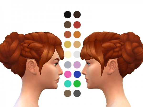 The Sims Resource: Side Braided Bun Hair for Sims 4