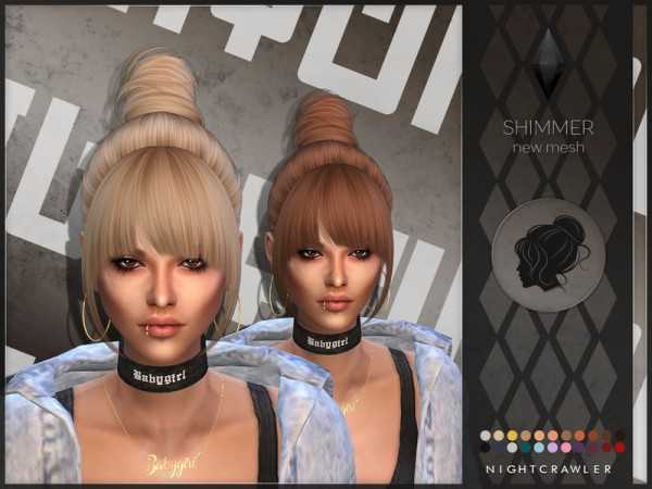 The Sims Resource: Shimmer hair by Nightcrawler for Sims 4